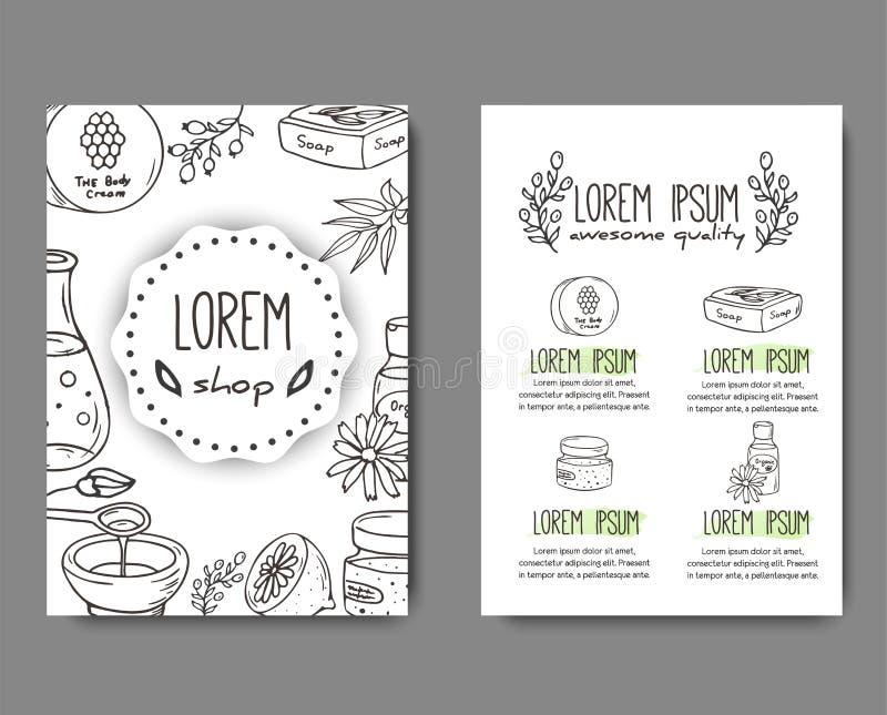 Broschyr med kosmetiska flaskor Organisk skönhetsmedelillustration royaltyfri illustrationer