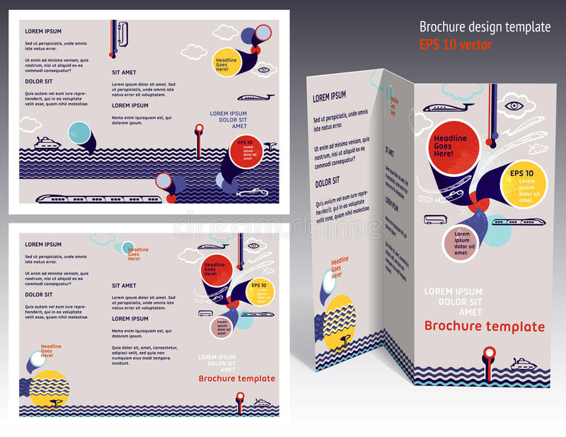Broschyr orientering för häftez-veck 2 sida. Redigerbar designmall stock illustrationer