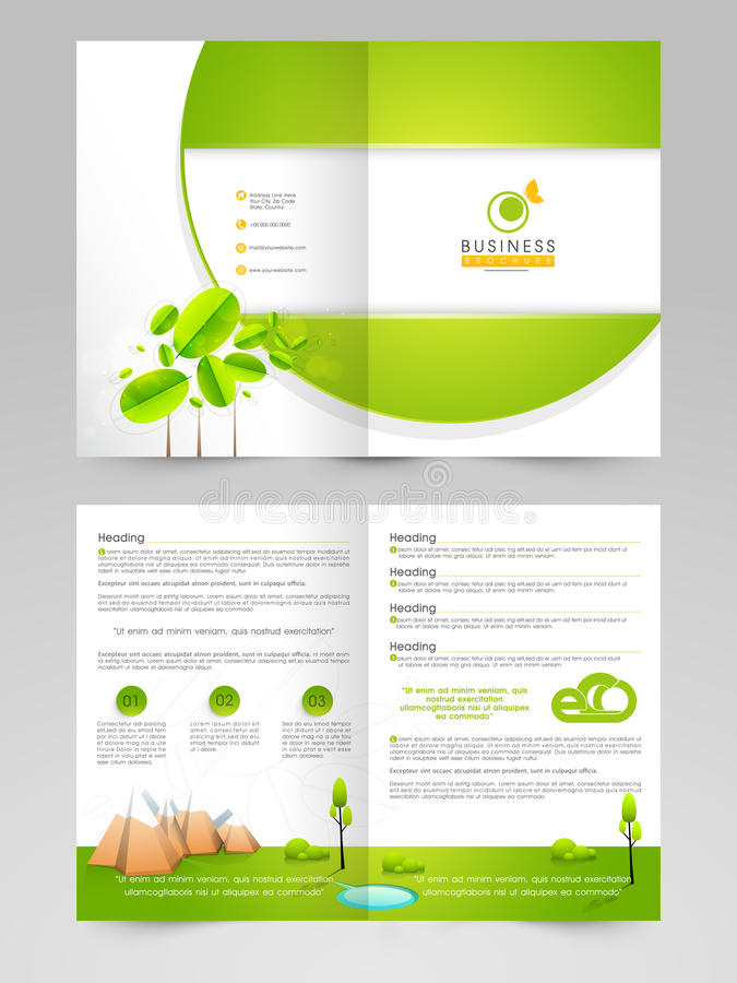 Broschyr, reklamblad eller mall för ecobegrepp stock illustrationer