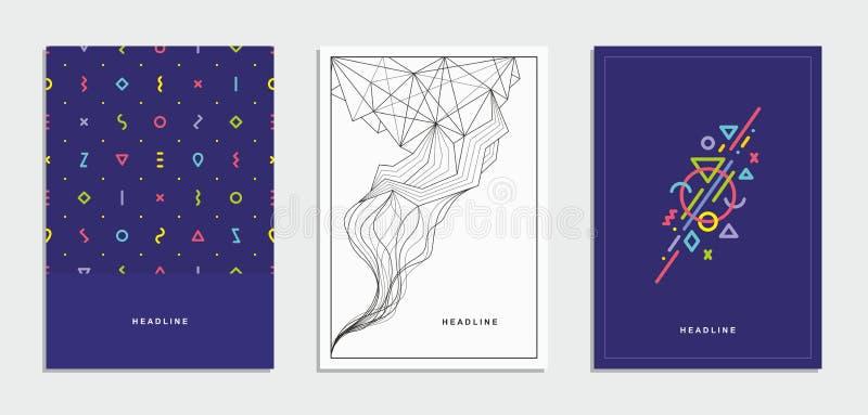 Broschyr reklamblad med en geometrisk modell vektor för mall för identitet för illustrationsaffär företags vektor illustrationer