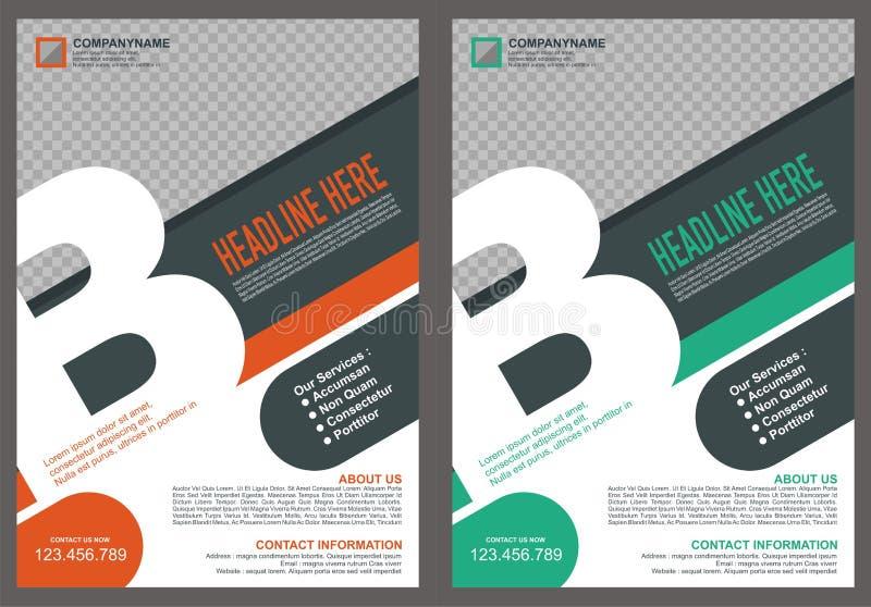 Broschyr - reklamblad med räkningen för stil för logo för ` för bokstavs` B royaltyfri illustrationer