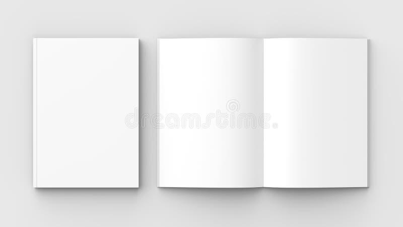 Broschyr-, tidskrift-, bok- eller katalogåtlöje som isoleras upp på mjuk gra royaltyfri illustrationer
