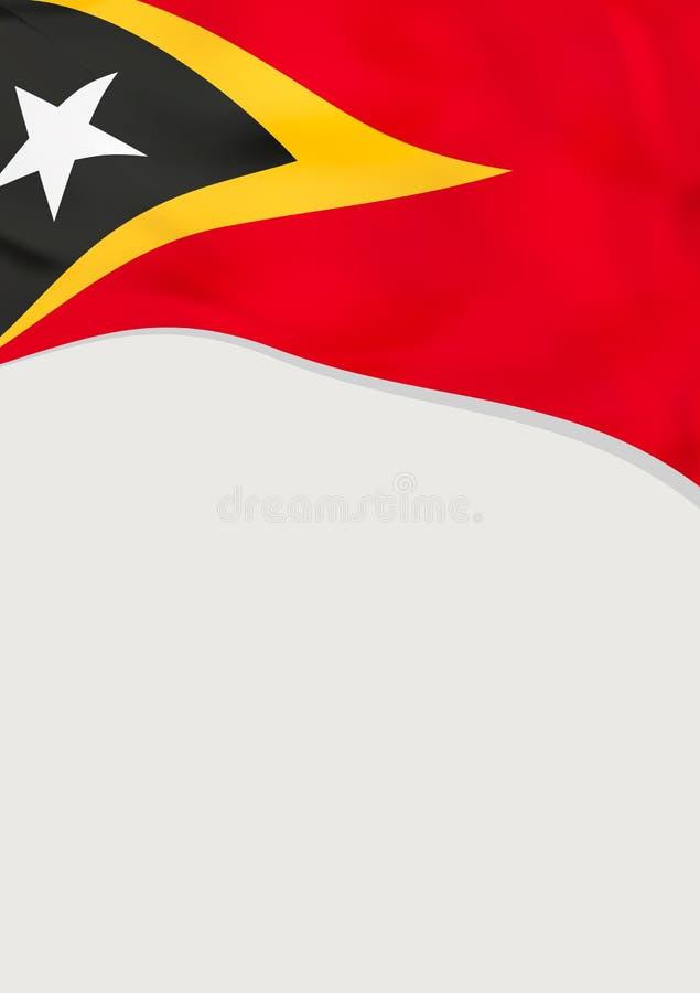 Broschyrdesign med flaggan av Östtimor kantlagrar låter vara vektorn för oakbandmallen stock illustrationer