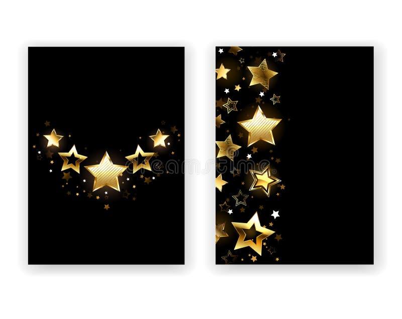 Broschyrdesign med guld- stjärnor vektor illustrationer