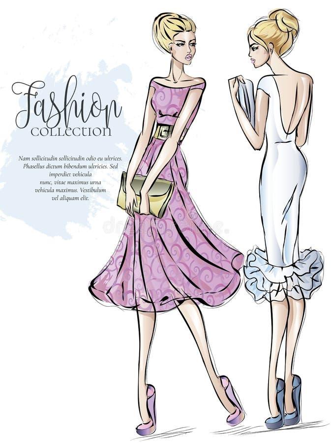 Broschyren för modesamlingsadvertizingen med uppsättningen av härliga kvinnor modellerar, drog illustrationen för skönhetflickor  stock illustrationer