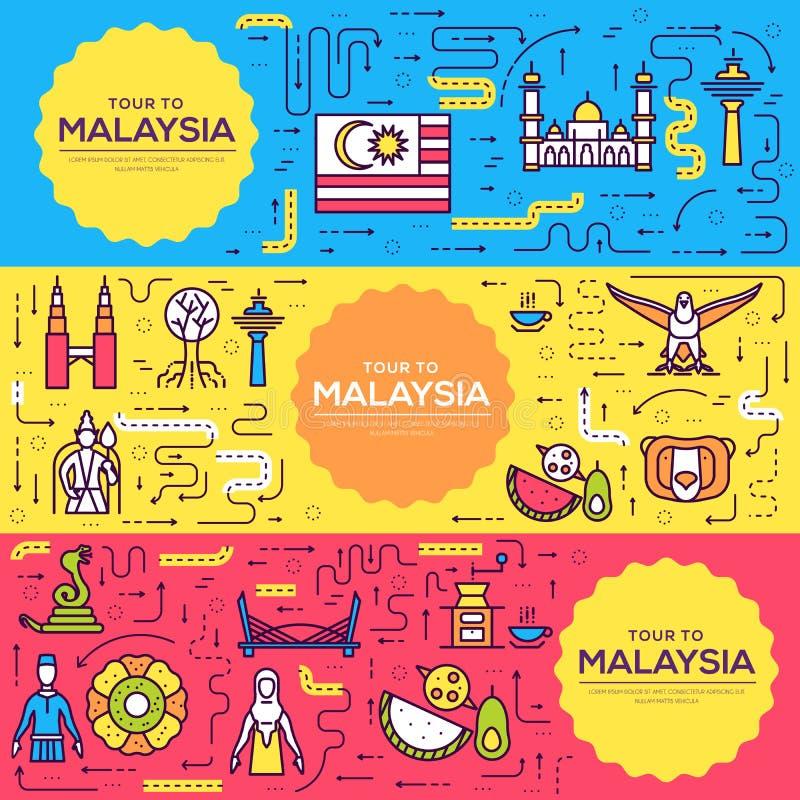 Broschyren för vektorn för det landsMalaysia loppet cards den tunna linjen arkitekturmall av flyear, tidskrifter, affischer, boko vektor illustrationer