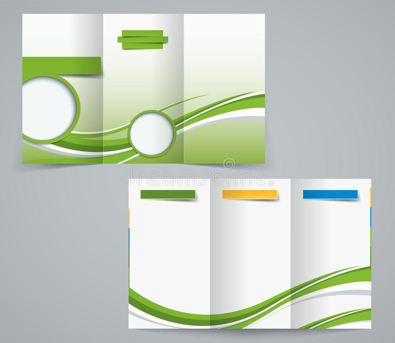 Broschyrmall för tre veck, företags reklamblad eller räkningsdesign i gröna färger stock illustrationer
