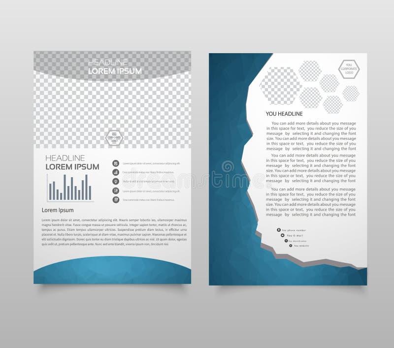 Broschyrmallorientering, räkningsdesignårsrapport, tidskrift, reklamblad, broschyrhäfte i A4 med färgrik triangeltex för turkos stock illustrationer