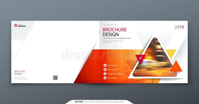 Broschyrmallorientering, räkningsdesignårsrapport, tidskrift, reklamblad eller häfte i A4 med den geometriska röda triangeln stock illustrationer