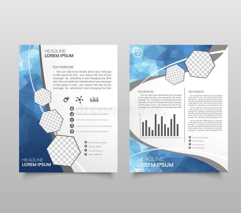 Broschyrmallorientering, räkningsdesignårsrapport, tidskrift, reklamblad i A4 med blåa polygonal trianglar, polygoner för ingrepp vektor illustrationer