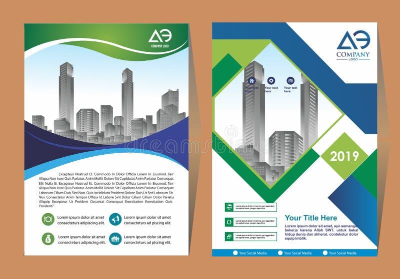 Broschyrmallorientering, r?kningsdesign?rsrapport, tidskrift, reklamblad eller h?fte i A4 med bl?a geometriska former p? polygona royaltyfri illustrationer