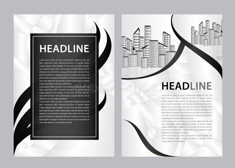 Broschyrmallvektor, affärsreklambladdesign, tidskriftorientering a4, årsrapport, katalog, broschyr, häfte, grafisk design stock illustrationer