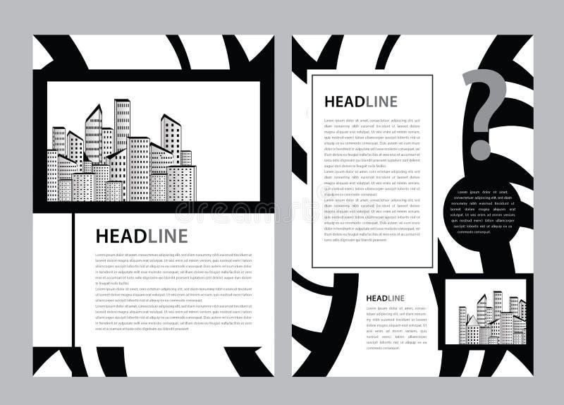 Broschyrmallvektor, aff?rsreklambladdesign, tidskriftorientering a4, ?rsrapport, katalog, broschyr, h?fte, grafisk design vektor illustrationer
