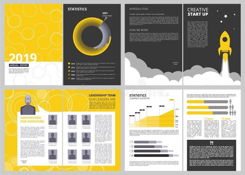 Broschyrorienteringsmall Projekt för design för vektor för sidor för presentation för årsrapportaffärsfinans med stället för ditt stock illustrationer