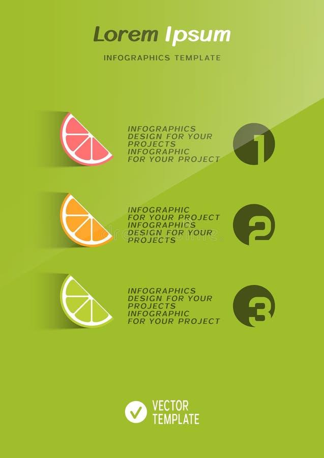Broschyrräkning eller rengöringsdukbanerdesign med citrusfruktsymboler stock illustrationer