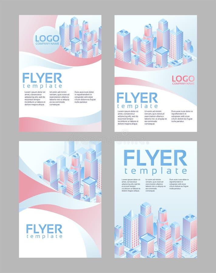 Broschyrräkningsdesign, reklambladmall, modern orientering för räkning, affisch med abstrakta former och isometrisk stad Reklambl royaltyfri illustrationer