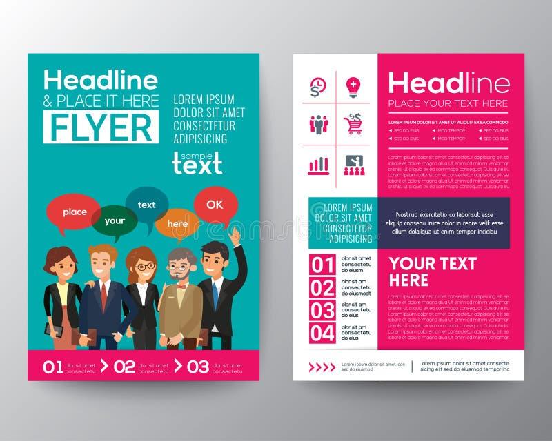 broschyrreklambladmall med modernt begrepp för teamwork för affärsfolk stock illustrationer