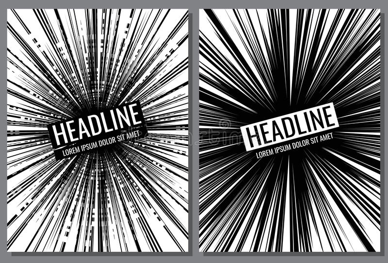 Broschyrvektormallar med den komiska hastighetslinjen effekt royaltyfri illustrationer