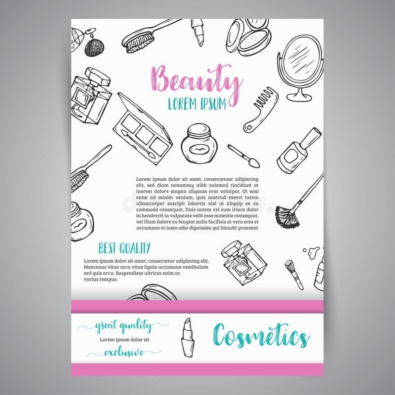 Broshure e bandeira do negócio da composição Artigos dos cosméticos Observe para a loja, salão de beleza, projeto do inseto, mold ilustração do vetor