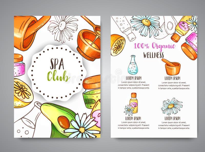Broshurehand getrokken schoonheidsmiddelen van de kuuroordclub en aromatherapy elementen Beeldverhaalschets van natuurlijk schoon royalty-vrije illustratie
