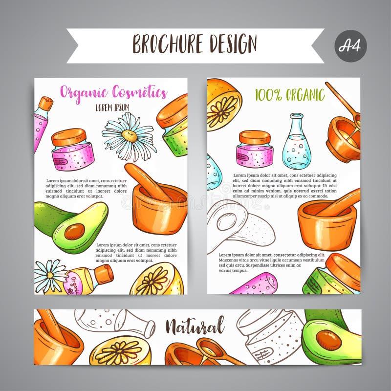 Broshurehand getrokken schoonheidsmiddelen van de kuuroordclub en aromatherapy elementen Beeldverhaalschets van natuurlijk schoon vector illustratie