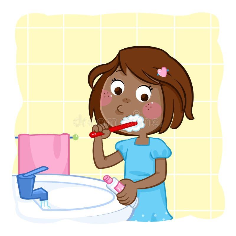 Brossage de dent - petite fille noire avec des cheveux de brun foncé dans la salle de bains illustration de vecteur