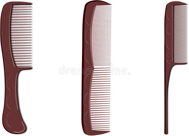 Brosse à cheveux trois brune illustration de vecteur