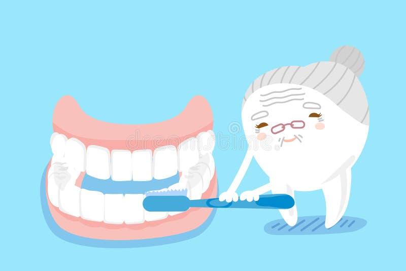 Brosse à dents avec la dent fausse illustration libre de droits