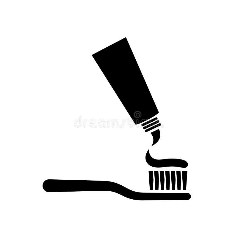 Brosse à dents avec la silhouette de pâte dentifrice illustration libre de droits