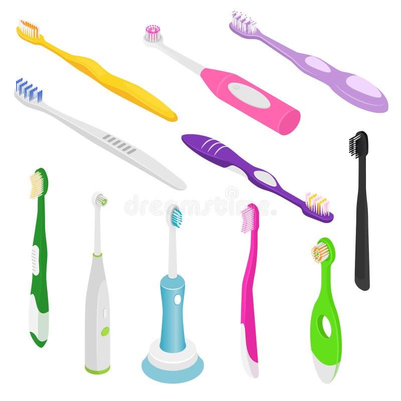 Brosse à dents dentaire d'hygiène de vecteur de Toothbrushe pour l'ensemble isométrique de brossage d'art dentaire d'illustration illustration stock