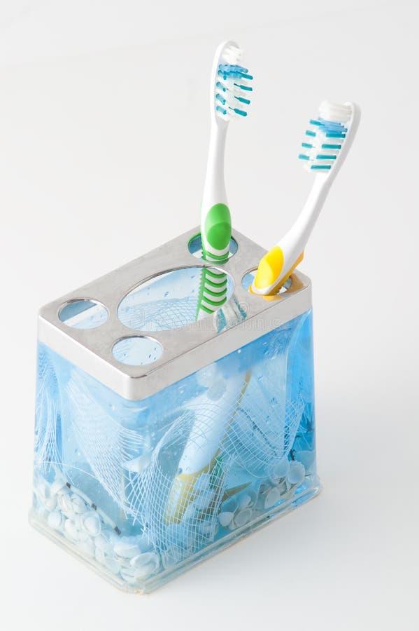 Brosse à dents deux colorée photo stock