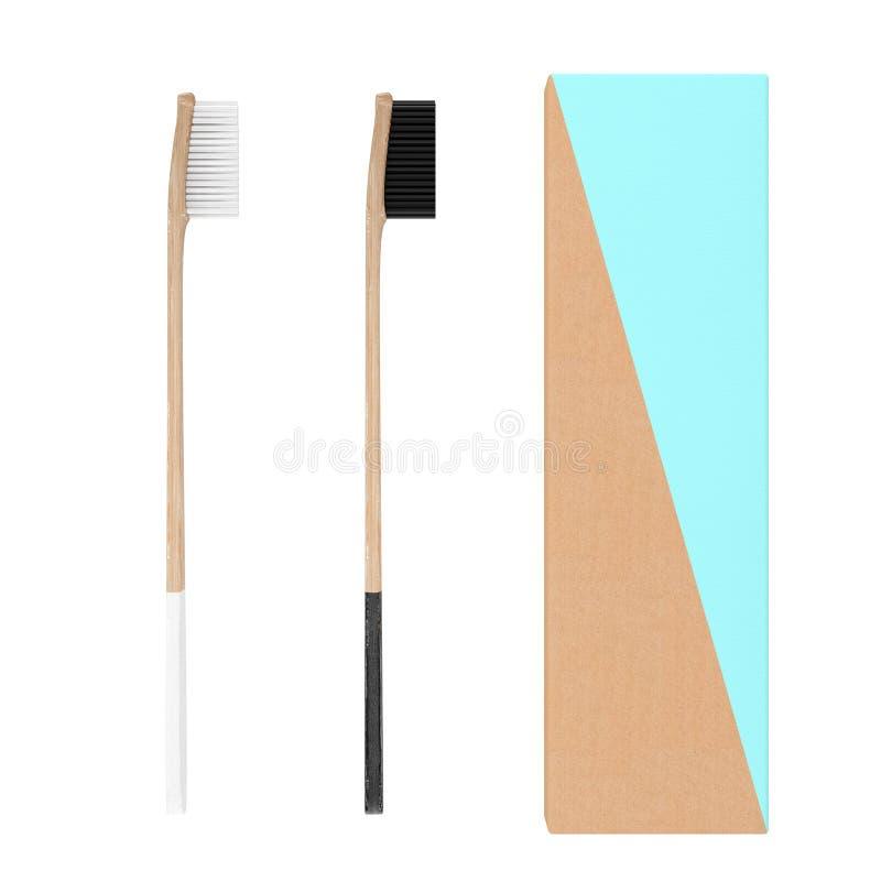 Brosse à dents en bambou en bois avec la boîte de couverture de caisse de carton rendu 3d illustration libre de droits