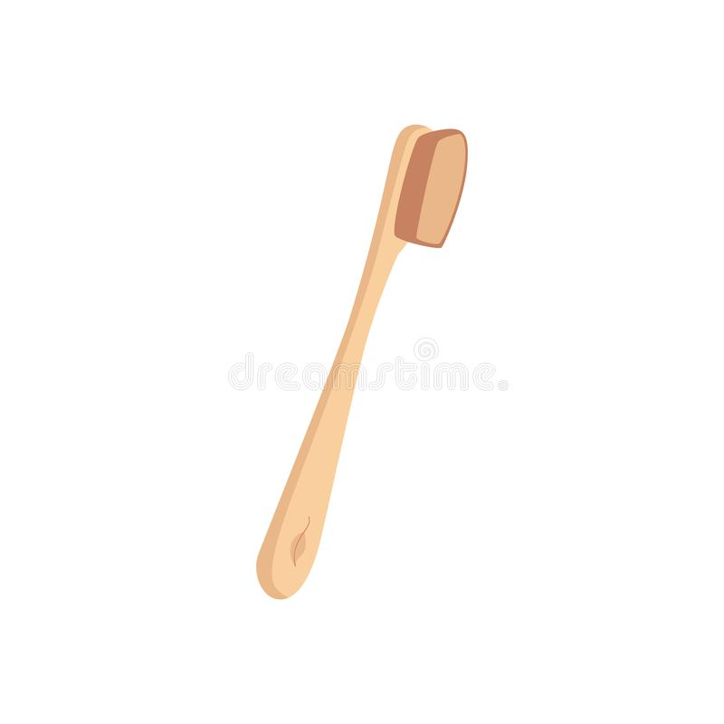 Brosse à dents en bois en bambou d'eco de rebut zéro dans un style plat illustration de vecteur