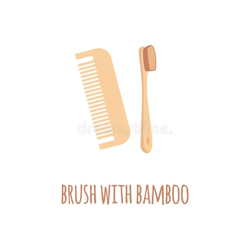 Brosse à dents en bois et peigne d'eco de rebut zéro dans un style plat avec la brosse des textes avec le bambou illustration libre de droits