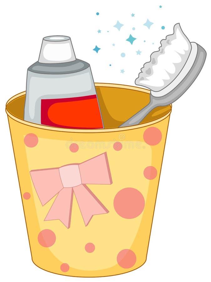 brosse à dents et pâte dentifrice dans la cuvette illustration de vecteur