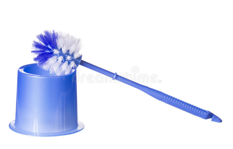 Brosse bleue de toilette d'isolement sur le blanc. Nettoyage images libres de droits