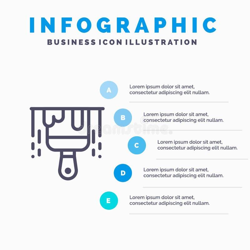 Brosse, construction, ligne de peinture icône avec le fond d'infographics de présentation de 5 étapes illustration libre de droits