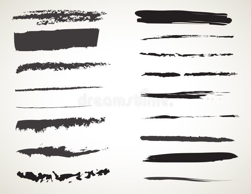 Brosse de lecture à l'encre noire d'art de vecteur Courses grunges de peinture illustration de vecteur