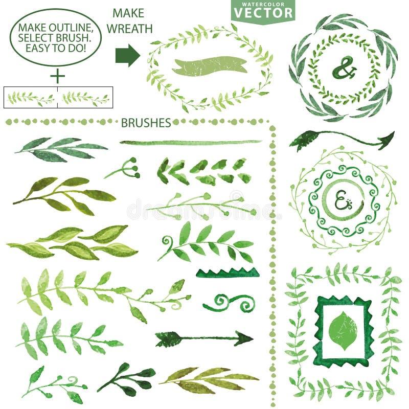 Brosse de lecture d'aquarelle Laurier floral de vintage illustration stock