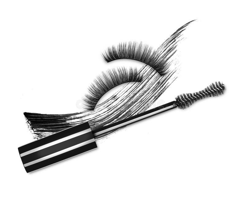 Brosse de mascara, cils faux et course noire cosmétique image stock