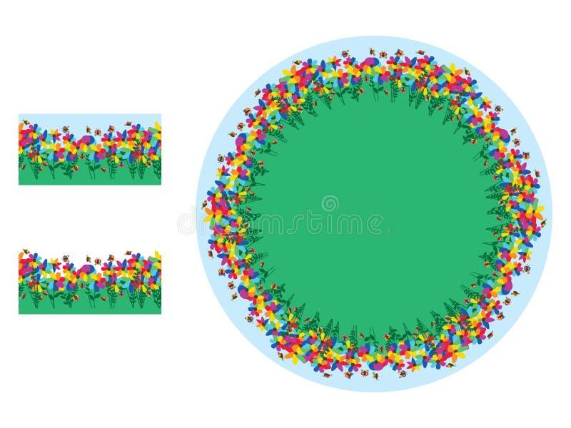 Brosse de modèle de jardin de papillon de fleur d'arc-en-ciel illustration libre de droits