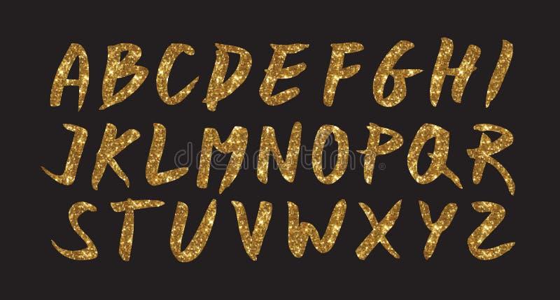 Brosse de police de scintillement d'or sur le fond noir, illustration d'or de cmyk de vecteur, calibre brillant d'impression illustration de vecteur