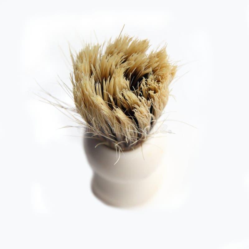 Brosse de rasage avec de vrais poils sur le fond blanc images libres de droits