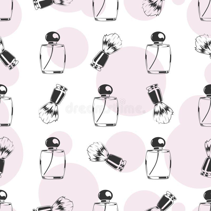Brosse de rasage et modèle sans couture de parfum illustration libre de droits