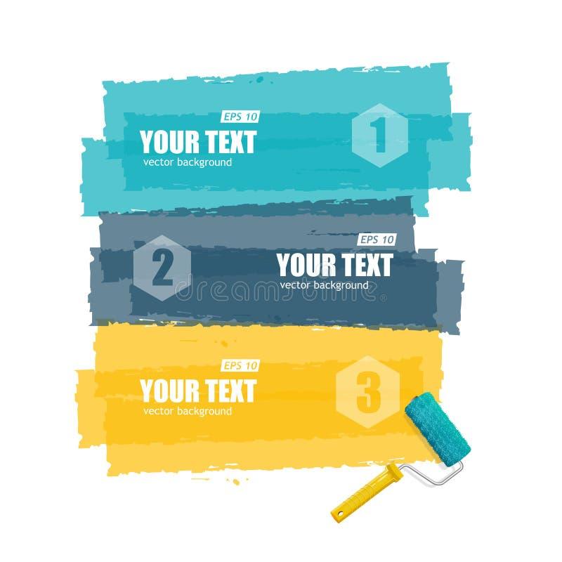 Brosse de rouleau de vecteur pour le texte, bannière d'options illustration de vecteur