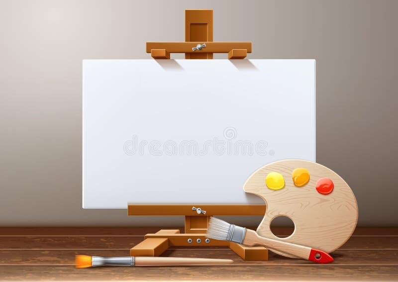 Brosse en bois de palette de peinture de toile de chevalet de vecteur illustration de vecteur