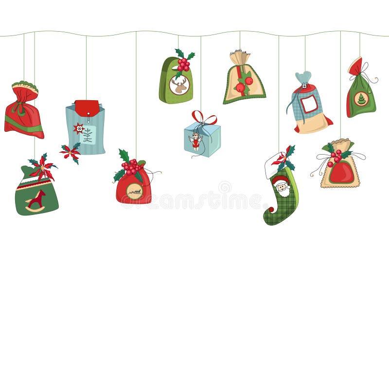 Brosse horizontale sans couture de modèle avec Noël illustration de vecteur