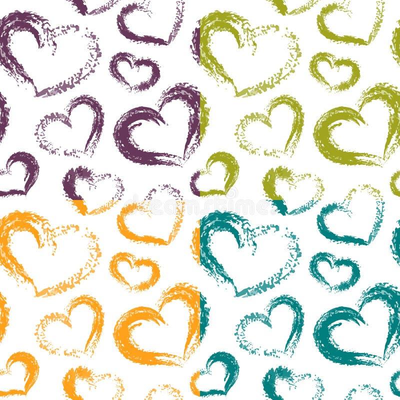 Brosse sèche Valentine Hearts Patterns Colorful de quatre vecteurs sur Pentecôte illustration de vecteur