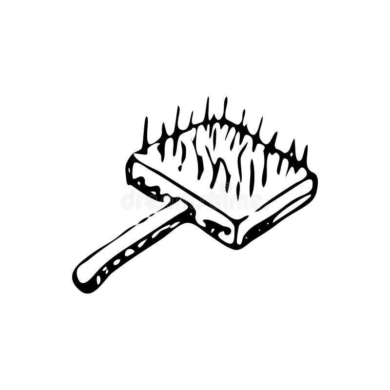 Brosse tirée par la main pour peigner le griffonnage de laine Le croquis choie l'icône illustration libre de droits