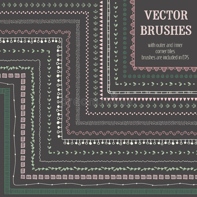 Brosses décoratives tirées par la main de vecteur avec les tuiles faisantes le coin intérieures et externes illustration de vecteur